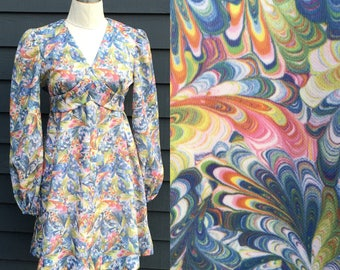 Vintage balloon sleeve mini dress . Psychedelic whirly print . Empress high waist vneck 60s 70s