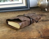 Rustic Leather Journal, Dark Brown 2.5 x 3.5 Hand-Bound Journal by The Orange Windmill on Etsy 1642