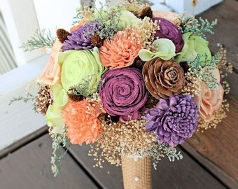 Alternative Wedding Bouquet - Sola Flowers, Bridal Bouquet, Pine Cones, Pineapple Buttons, Hydrangea, Lime Green, Purple, Orange