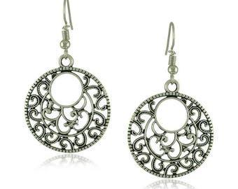Pair of Handmade Antique Silver Filigree Flower Earrings, Bohemian Earrings, Earrings 28mm