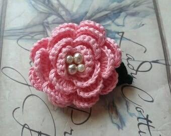 Pink Crochet Flower Brooch.  Small Flower Brooch.  Handmade Brooch.