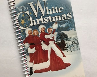 WHITE CHRISTMAS Notebook Journal upcycled spiral notebook Recyled Earth Friendly Made from an actual VHS movie cover