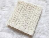Hand Knitted CREAM Merino Wool Baby Pram Cot Stroller Nappy Baby Seat Blanket Ready to ship