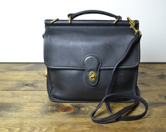 Vintage Coach Bag - Medium Black Leather Willis Satchel Crossbody Purse