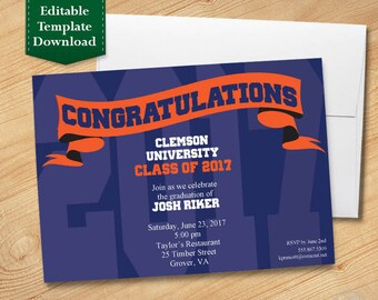 Blue and Orange Graduation Invitation Template, High School Graduation Invitation, College Graduation Invitation, Graduation Party 2017