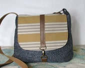 Nashville- Crossbody messenger bag // Travel purse // Crossover // Fall purse // Vegan //Yellow //Grey // Tweed // Stripes // Made to order