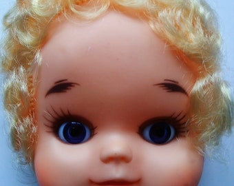 Quirky Vintage Doll Face & Hands Curly Blonde  Hair Blue  Eyes Vinyl Circa 1970s Crafting Supply