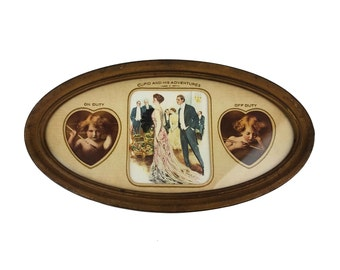 Antique Cupid and His Adventures On Duty & Off Duty, Awake Asleep Framed Print // M.B. Parkinson Cupids /Clarence Underwood, The Magnet