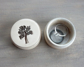 Small Tree Of Life Ring or Pill Box Anniversary Wedding Jewelry Pretty Keepsake Nature Birthday Gift Decorative Pottery Photography Prop