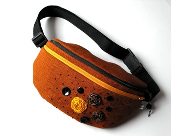 fanny pack/hip bag - brown with yellow and brown flowers (large size)