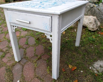 shabby chic end table one drawer all wood hand painted inspirational quote original one of a kind white romantic accent