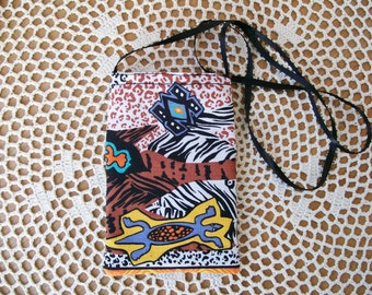 Tribal CELLPHONE POUCH Salamander Mask Animal prints  Mini Neck Purse Cell Phone Bag Android Iphone Gadget - Ships free in US