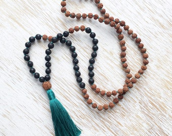 Black Lava Stone Mala Beads, Rudraksha Mala Necklace, 108 Mala Beads, Buddhist Jewelry, Turquoise Tassel Necklace, Rudraksha Necklace, Vegan