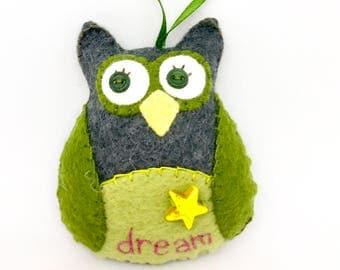 Owl Ornament, Dream Owl, Owl Car Charm, Felt Owl Ornament, Hand Embroidery, OOAK Wool Felt Owl, Owl Decoration, Inspirational Owl