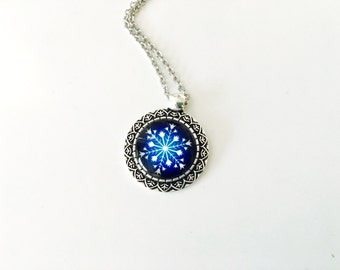 Snowflake necklace, Sale today only, silver blue snowflake, winter jewelry, stainless steel
