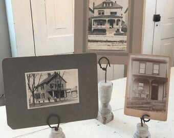 Photo Display Stands Repurposed Antique Architectural Salvaged Wood Metal Upcycled Vintage SET OF THREE Old House Photographs Paper Display