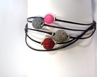 Lava bracelet, GEMSTONES jewelry,  Agate bracelet, Lava bracelet, Cotton bracelet, bangle, gemstones , Agate, Lava. GEMSTONES