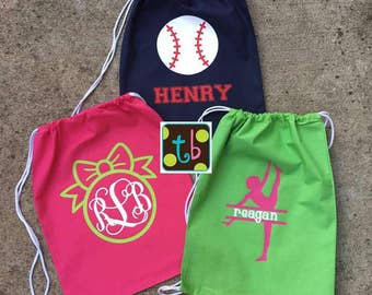 Personalized Monogram Baseball Gymnastics Ballet Preppy Drawstring Backpack