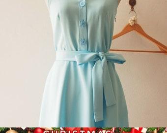 Christmas SALE DOWNTOWN - Baby Blue Shirt Dress, Summer Dress, Blue Bridesmaid Dress, Midi Dress, 1950 Inspired Dress, Vintage Inspired D...