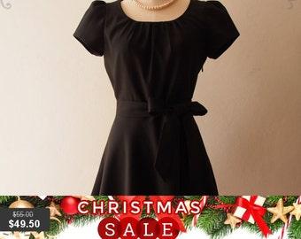 Christmas SALE Black Sleeve Dress Black Formal Midi Dress Long Modest Dress Vintage Inspired Party Dress- Love Spell with Sleeve - XS-XL,...