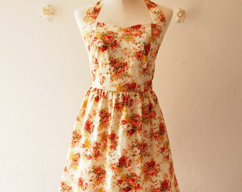Vintage Inspired Dress Romantic Autumn Tangerine Rose Garden Dress Neck Tie Style - Once Upon A Time