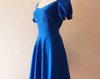 HAppily Ever After - La La Land Blue Dress Sundress Doll Sleeve Summer Snow White Dress Royal Blue Bridesmaid Dress Vintage Sweetheart Dress