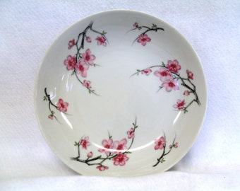Diamond China Serving Bowl, Cherry Blossom Pattern, Made in Japan