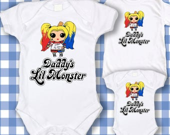 Harley Quinn Cosplay Shirt - Daddy's Lil Monster - Harley Quinn Shirt - Harley Quinn Ladies Shirt - Suicide Squad  Bodysuit