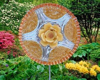 GOLD Painted Glass Yard Art, Outdoor Art Sun Catcher, Glass Garden Art, Home Décor with recycled glassware