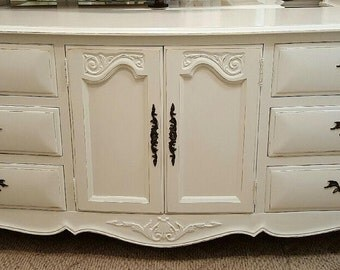Rustic Glam Dresser French distressed white dresser credenza Vintage glam dressers