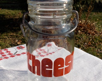 70s MOD CHEESE Jar Red Lettering Wheaton Glass Company Cheese SHAKER