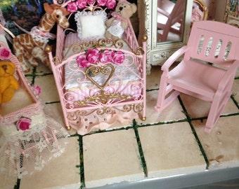 Dollhouse Miniature Shabby Chic Pink Baby Crib, Carriage, Buggy, Stroller, Pram