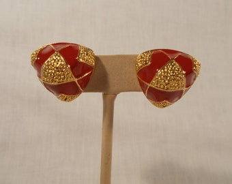 Orange and Gold Tone Clip Earrings