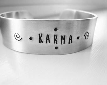 Karma Bracelet Hand Stamped Karma Aluminum Cuff Unisex Bracelet Boho Style Travel Gift Gypsy Personalized Inspirational Gift Idea For Her
