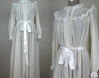 Vintage 1940s White Silk Crepe Robe 40s Sheer Lingerie Robe with Satin Belt Size S/M
