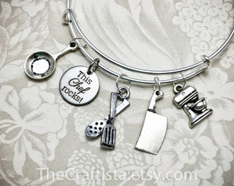 CHF2, Chef Bracelet, Chef Bangle, Utensil Charm Chef Gift, Gifts for a Chef, Mixer Charm, Cooking Pan Charm, Frying Pan Charm, Cleaver Charm