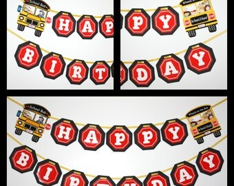 Wheels on the Bus Birthday Party Banner, READY TO SHIP Happy Birthday, Wheels on the Bus, Yellow School Bus Party Decoration Banner