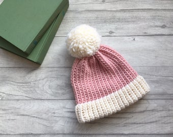 Pink and white knitted hat for women with pompom, hand knitted bobble hat, etsy uk, knitted beanie hat uk