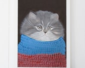 Cozy Kitten in a Scarf Print 5x7 Cute Nursery Print