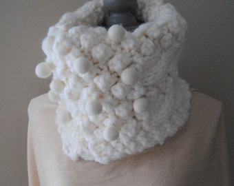 Warm winter scarf , white knitted scarf with wool felt balls, Chunky knit scarf