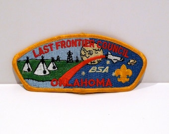 Boy Scout Patch vintage Last Frontier Council Embroidered BSA Oklahoma Fabric patch Teepee Oil Wells Moon Space Shuttle sew on patch destash