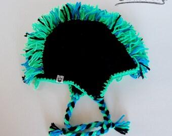 Premium Soft Crochet Mohawk Punk Hat Beanie Toque Available Sizes Baby to Adult Color Black