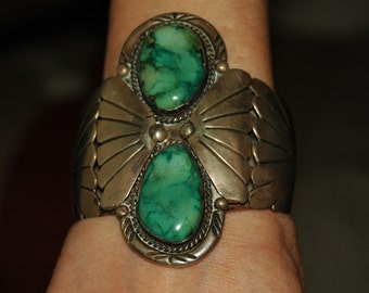 """3 1/2"""" Tall Captivating Vintage Navajo Silversmith Fred Guerro Carico Lake Turquoise Bracelet Cuff 139 Grams"""