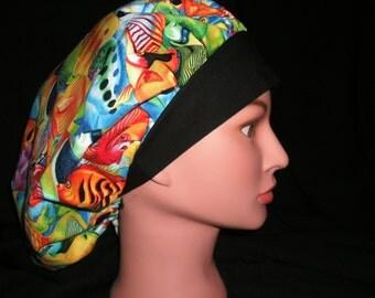 tropical fish bouffant scrub hat