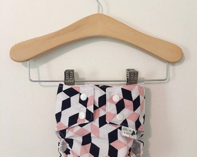 Geometric PUL Lined Water Resistant Diaper Cover Available in Small