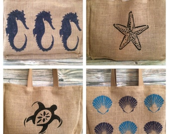 Beach Tote Bag, Burlap Tote Bag, Burlap Beach Bag, Nautical Tote Bag, Tote Bag, Large Beach Bag, Jute Tote