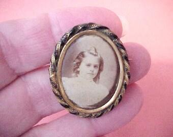 Dear Little Edwardian Era Photograph Brooch of Charming LIttle Girl