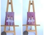 Ballerinas set of 2 Dolls House Paintings  Original Art Dollhouse Picture by miniature artist Hazel Rayfield