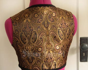 The perfect turkish vest-black, burgundy and gold paisley