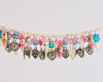 Charm Bracelet, Hearts, Leaves, Swarvoski Crystals, Pink, Blue, For Her